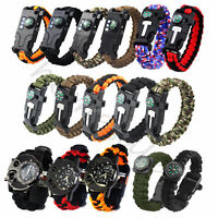 5/13 in1 Outdoor Survival Bracelet Paracord Whistle Gear Flint Compass Tools Kit