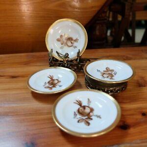 Vintage Royal Copenhagen Denmark Brown Rose Set of 4 Butter Pats Gold Trim
