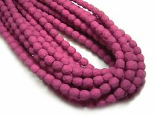 4mm Saturated Fuchsia Czech Glass Firepolished Round Beads (50) #3195