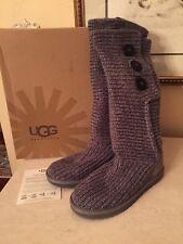 Women's UGG Australia Classic Cardy Knit Boot Gray Size US 7 In BOX! EUC!