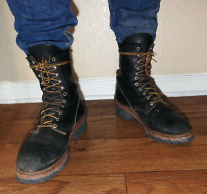 Used Red Wing Black Work LoggerMax 218 Wildland Fire-Fighting Hiking Boots 12 US