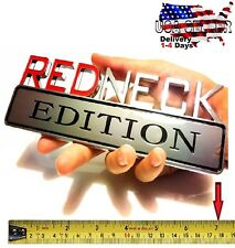 REDNECK EDITION truck JEEP car Tailgate EMBLEM LOGO DECAL SIGN CHROME RED NECK