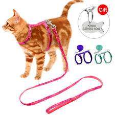 Cat Kitten Harness and Leash With Engraved ID Tag Adjustable Puppy Strap Harness