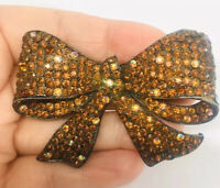 Fabulous FRANCOIS' Bow Brooch By Coro Topaz & AB Rhinestones Vintage Jewelry