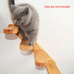 Wall Mounted Cat Toy Climbing Step Staircase Pet Solid Wood Easy Install Home