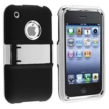 Deluxe Rubberized Case with Chrome Kickstand for iPhone 3G / 3GS - Black