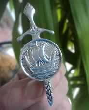 Scottish Silver Iona Celtic Sword / Viking Ship Brooch - Celtic Art Industries