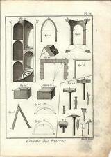 Stampa antica PIETRA DA TAGLIO Pl 3 Enciclopedia Diderot 1790 Old antique print