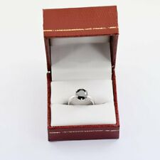 Silver 925 Black Diamond Ring Round Solitaire Wedding Engage 2.4Ct IGL Certified