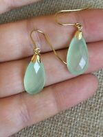 Pretty Natural green Prehnite drop dangle solid 9ct gold French hook earrings