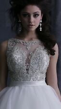 ALLURE COUTURE WEDDING GOWN BRIDAL BRIDE DRESS CRYSTALS BALLGOWN NEW IVORY SZ 10