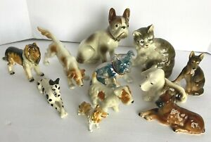 """Variety Lot of 10 Vintage Porcelain/Ceramic Dog Figurines + One Cat  2.5""""-6.75"""""""