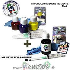 Pack kits Encre Couleur + noir Pigmentée EPSON T0711-T0714 Recharge Jet d'encre