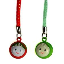SET OF 2 CUTE TOMATO FACE BELL CHARMS Mobile Phone Lanyard Strap NEW Red Green