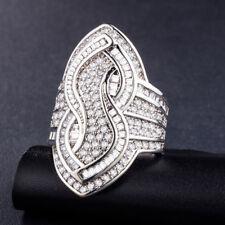 Vintage Round Cut White Sapphire Women 925 Silver Jewelry Wedding Ring Size 8
