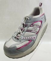 Skechers Womens Shape Ups 11814 White Pink Gray Fitness Sneakers Lace Up Sz 9.5