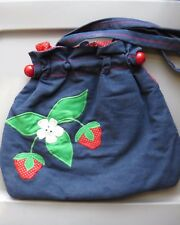 VINTAGE STRAWBERRY APPLIQUED DENIM FABRIC SOFT PURSE HAND CRAFTED