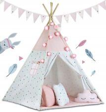 Namiot tipi z girlandą i światełkami - różowy 740002