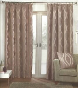 """BELGRAVIA CHENILLE  FULLY LINED PENCIL PLEAT CURTAINS MINK 46""""x54"""""""