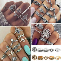 Retro 10Pcs/ Set Silver Gold Boho Arrow Moon Flower Midi Finger Knuckle Rings