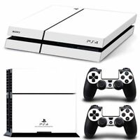 White Game Decal Cover Skin Sticker for PS4 PlayStation Console 2 Controller USA