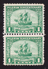 SCOTT #548 ⭐ PILGRIMS TERCENTENARY ⭐ 1¢ GREEN VERTICAL PAIR MNH 1920