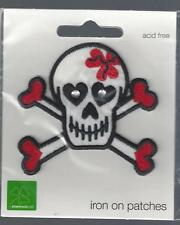 Red  and White Scull and Crossbones    Embroidered Iron On Patch Motif