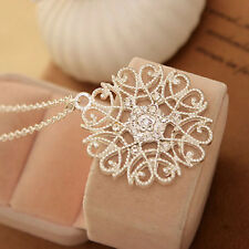 White Crystal Flower Pattern Pendant Necklace 24K Silver Plated Sweater Chain