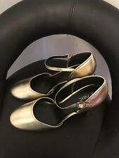 NEXT Ladies Gold Mary Jane Shoes - BNWT - Size UK 7 EU 41 - RRP £38