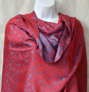 Red purple double sided silk blend dot Shawl, Stole, Wrap from India