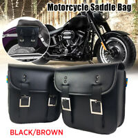 2x Universal Motorcycle Saddle Bag Saddlebags Side PU leather Luggage Tool Pouch