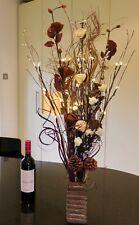 choc cream flowers & wood vase & prelit 5 twigs(30 lights) weddings,lounge GIFT