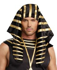 ADULT EGYPTIAN PHARAOH KING TUT COSTUME HAT HEADPIECE MENS BLACK GOLD GREEK