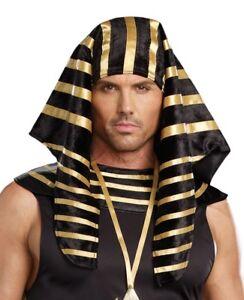 ADULT EGYPTIAN PHARAOH KING TUT COSTUME HAT HEADPIECE MENS BLACK GOLD GREEK