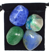BLOOD PRESSURE CONTROL  Tumbled Crystal Healing Set = 4 Stones + Pouch + Card