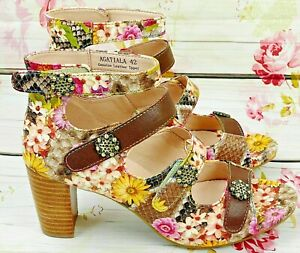 L'Artiste by Spring Step Agatiala Sandals Heels Brown Multi Floral Leather New