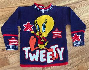 Kids Vintage TWEETY Sweater Small SNOW BIRD Looney Tunes Stars Ribbed