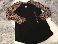 Victoria's Secret Pink Black Leopard Baseball Raglan Tee NWT Rare Size XS