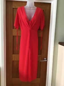 Topshop Red Polka Dot Spot Midi Tea Dress - Size 14