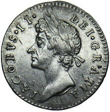 More details for 1687 maundy threepence (7 over 6) - james ii british silver coin - very nice