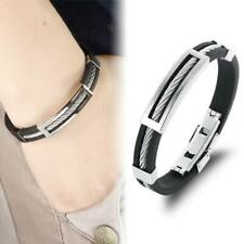 Mens Silicone Braided Bracelet Stainless Steel Clasp Wristband Jewellery Gift HD