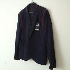 TOPMAN Mens Navy Blue/Burgundy Piping Skinny Fit Blazer UK 44