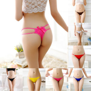 Womens Bowknot Back V-string Briefs Panties Thongs Lingerie Underwear Sexy Bling