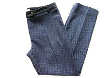 GERARD DAREL WOMENS WOOL BLUE & BLACK SQUARE CHECK CROPPED TROUSERS *FR 42/UK 14