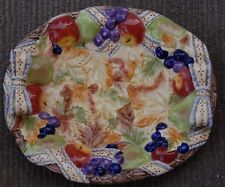 Vintage Fall Festive Platter Apples, Grapes Leafs and Bows Painted