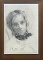 August Schiott 1823-1895 Dibujo Retrato Uno Mujer Retrato de a Mujer 13x18