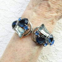 Vintage Juliana D&E Sapphire Blue Rhinestone Clamper Bracelet DeLizza + Elster