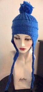 Funky Hand Knitted Warm Unisex Blue Bobble Hat