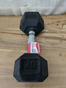 NEW Weider 20lb Rubber Hex Dumbbell, Single (20lbs Total)