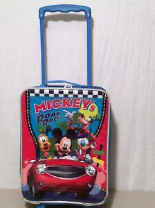 "Mickey's Road Rally Rolling Suitcase Child's 18"" Suitcase Travel Bag Gentle Wear"